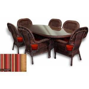 """Tortuga Sea Pines Collection LEX-7DS1-M-MONS 7-Piece Dining Set with 6 Dining Chairs and 84"""" Large Dining Table in Mojave Wicker and Monserrat Sangria Fabric"""