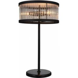"""Acme Furniture Piper Collection 40100 14"""" Table Lamp with 3-Light Capacity  Marble Base  Clear Crystal Pendant  Contemporary Style and Metal Frame in Black Satin"""
