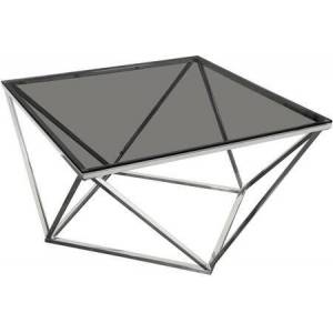 """Diamond Sofa Gem Collection GEMCTSL 32"""" Cocktail Table with Smoked Tempered Glass Top and Polished Stainless Steel Base in"""