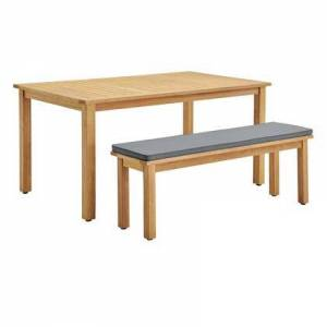 Modway Syracuse Collection EEI-3703-NAT-GRY  Outdoor Patio Outdoor Patio Dining Table and Bench Set with Table and One Bench Set  FSC Certified Eucalyptus