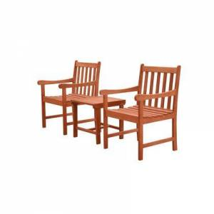 Vifah Malibu Collection V1802SET7 3-Piece Outdoor Patio Dining Set with Two Armchairs and Side Table in Natural Wood