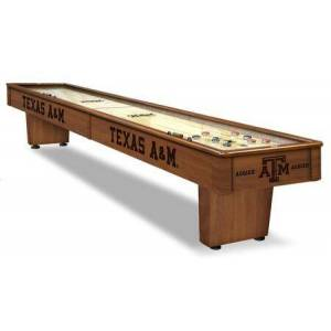 Holland Bar Stool SB12TexA-M Texas A&M 12' Shuffleboard Table with Solid Hardwood Cabinet  Laser Engraved Graphics  Hidden Storage Drawer and Pucks  Table Brush and