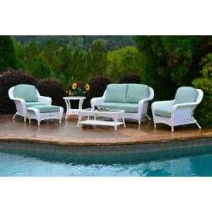 Tortuga Sea Pines Collection FN21500-W-MONS 6-Piece Deep Seating Set with Loveseat  2 Chairs  Coffee Table  Side Table and Ottoman in White Wicker and