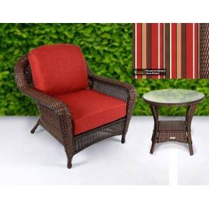 Tortuga Sea Pines Collection LEX-CT1-J-MONS Chair and Side Table Bundle in Java Wicker and Monserrat Sangria Fabric