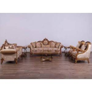 European Furniture Raffaello Collection II Luxury 3 Pieces Set with 1 Sofa + 1 Loveseat + 1 Chair  in Antique Brown Light Gold and Silver