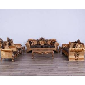 European Furniture Emperador Collection Luxury Set 3 Pieces with 1 Sofa + 1 Loveseat + 1 Chair  in Antique Brown Silver and Light
