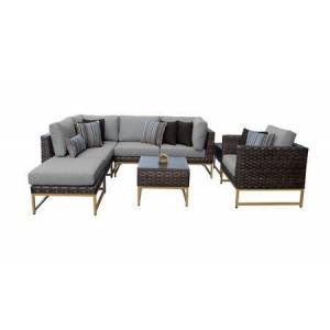 TK Classics Barcelona BARCELONA-08m-GLD-GREY 8-Piece Patio Set 08m with 2 Corner Chairs  1 Club Chair  2 Armless Chairs  1 Ottoman and 2 End Tables - Beige and