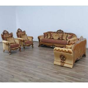 European Furniture Emperador Collection III Luxury Set 3 Pieces with 1 Sofa + 1 Loveseat + 1 Chair  in Red Gold