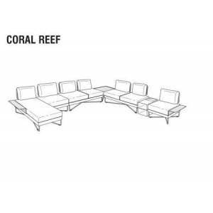 """Roberti Coral Reef Collection 9842FAWH 158"""" and 141"""" 9PC Sunlounge Set with Stainless Steel Base  Aluminum Seat and Back in White"""
