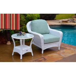 Tortuga Sea Pines Collection LEX-CT1-W-MONS Chair and Side Table Bundle in White Wicker and Monserrat Sangria Fabric