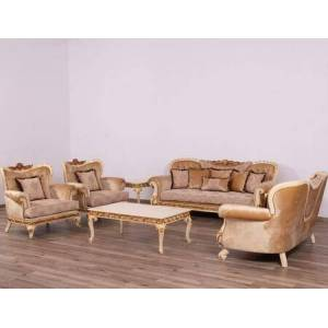 European Furniture Fantasia Collection Luxury Set 3 Pieces with 1 Sofa + 1 Loveseat + 1 Chair  in Antique Beige and Dark Gold