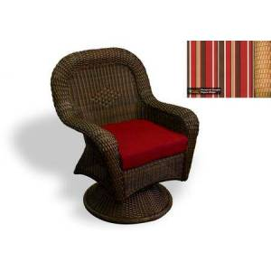 Tortuga Sea Pines Collection LEX-24-M-MONS Swivel Rocking Dining Chair in Mojave Wicker and Monserrat Sangria Fabric
