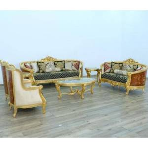 European Furniture Luxor Collection Luxury 3 Pieces Set with 1 Sofa + 1 Loveseat + 1 Chair  in Gold Leaf Black Gold