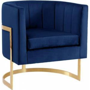 """Meridian Carter Collection 515NAVY 29"""" Velvet Accent Chair with Channel Tufting  Gold Stainless Steel Base and Contemporary Style in"""