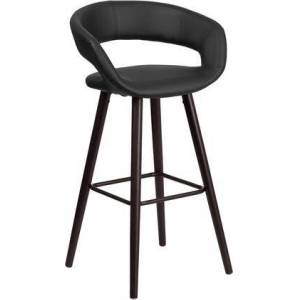Flash Furniture Brynn Collection CH-152560-BK-VY-GG Bar Height Stool with Footrest Support  Floor Protector Glides  Rounded Low Back Design  Cappuccino Hardwood