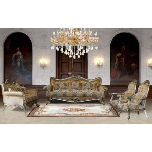 European Furniture Valeria Collection Luxury 3 Pieces Set with 1 Sofa + 1 Loveseat + 1 Chair  in Antique