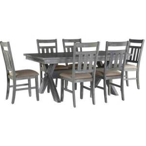 Powell 457-417M2 Turino Collection Dining Set 7 Pieces with One Table + Six Chairs  Classic X-Base Trestle Design  Storage Shelf  Thick  Sturdy Base
