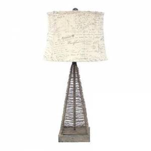 Benzara BM217244 Metal Pyramid Base Table Lamp with Wire Design and Scripted Shade
