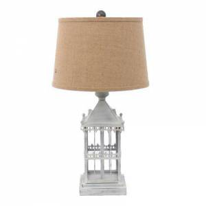 Benzara BM217245 Metal Temple Design Base Table Lamp with Fabric Shade  Beige and