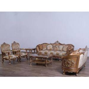 European Furniture Saint Germain Collection Luxury 3 Pieces Set with 1 Sofa + 1 Loveseat + 1 Chair  in Parisian Brown Light Gold and Antique