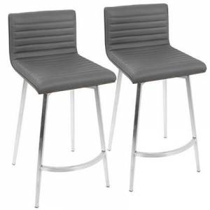 LumiSource Mason Collection B26-MSNSWWLGY2 Set of 2 Counter Height Stool with Stainless Steel Base  Faux Leather Upholstery  Contemporary Style  Solid Wood Back