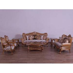 European Furniture Augustus Collection II Luxury 3 Pieces Living Room Set with 1 Sofa + 1 Loveseat + 1 Living Room Chair  in Parisian Antique Silver and Brown Light