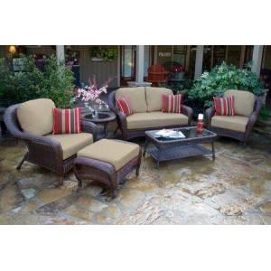 Tortuga Sea Pines Collection FN21500-J-MONS 6-Piece Deep Seating Set with Loveseat  2 Chairs  Coffee Table  Side Table and Ottoman in Java Wicker and