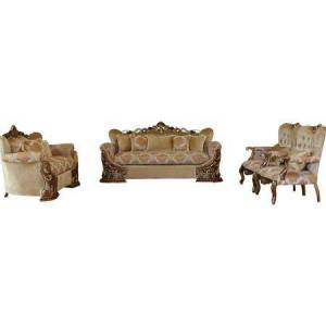European Furniture Emporior Collection Luxury Set 3 Pieces with 1 Sola + 1 Loveseat + 1 Chair  in Golden Brown and Antique