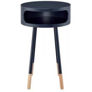"""Acme Furniture Sonria Collection 84448 16"""" End Table with Open Compartment  Powder Coating Metal Legs  Natural Wooden Caps  Round Top  Bentwood and Rubberwood"""