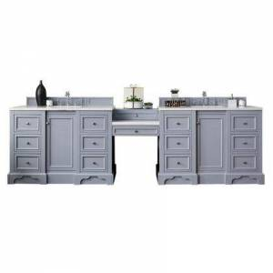 """James Martin De Soto Collection 825-V118-SL-DU-AF 118"""" Double Vanity Set  Silver Gray with Makeup Table  3 CM Arctic Fall Solid Surface"""