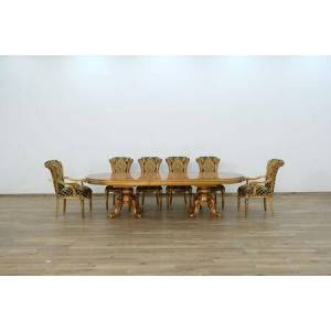 European Furniture Maggiolini Collection Luxury 11 Pieces Set with 1 Dining Table + 2 Arm Chair + 8 Side Chair  in Antique Golden Bronze and Natural
