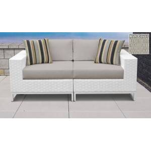 TK Classics Miami Collection MIAMI-02a-ASH 2-Piece Patio Wicker Loveseat with Left Arm Chair and Right Arm Chair - Sail White and Ash