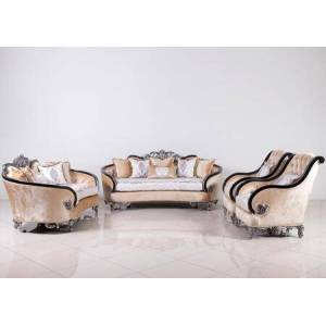 European Furniture Rosabella Collection Luxury 3 Pieces Set with 1 Sofa + 1 Loveseat + 1 Chair  in Black and Antique