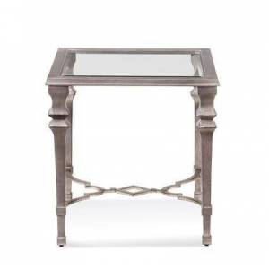 "Bassett Mirror Sylvia Collection 1212-250EC 24"" Square End Table with Metal Material in Silver"