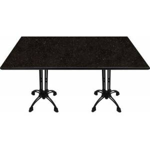 "Art Marble Furniture G206 30X60-CA18-24D 30x60 Black Galaxy Granite Tabletop with 17"" Ornate Matte Black Dining Height Table"