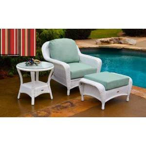 Tortuga Sea Pines Collection LEX-STCO1-W-MONS Chair  Ottoman and Side Table in White Wicker and Monserrat Sangria Fabric