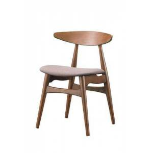Wholesale Interiors RT326-CHR Baxton Studio Flamingo Dining Chair with Faux Leather  Foam Cushioning Seat  Grey Twill Fabric and Solid Rubberwood in Dark Walnut