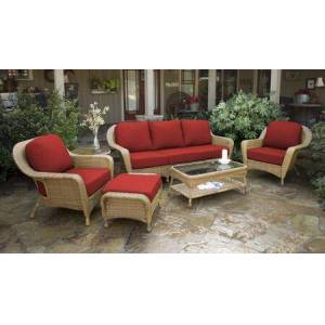 Tortuga Sea Pines Collection LEX-651-M-MONS 6-Piece Seating Set with Sofa  2 Chairs  Coffee Table  Side Table and Ottoman in Mojave Wicker and Monserrat