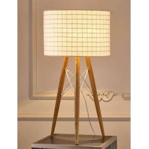 Whiteline Amber Collection TL1486-WHT Table Lamp with Contemporary Style  Medium-Density Fiberboard (MDF) Base and Round Shaped Fabric Shade in White