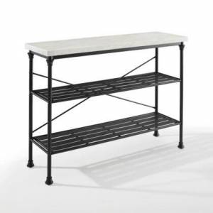 Crosley Furniture Madeleine Collection CF6130-MB Console in Matte Black and White Marble