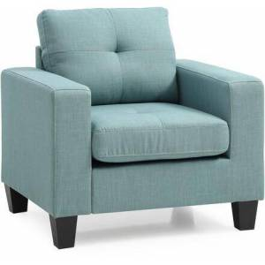 """Glory Furniture G500A-C Newbury Collection 35"""" Chair with Tufted Details  Track Armrest  Twill Fabric Material  Tapered legs and Wood Frame  in"""