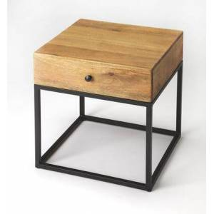 Butler Brixton Collection 3898330 End Table with Modern Style  Square Shape  Medium Density Fiberboard (MDF) and Mango Wood Solids in Industrial Chic