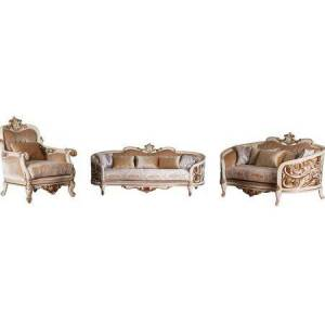European Furniture Bellagio Collection Luxury 3 Pieces Living Room Set with 1 Sofa + 1 Loveseat + 1 Living Room Chair  in Beige and Dark Gold