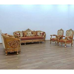 European Furniture Saint Germain Collection Luxury 3 Pieces Set with 1 Sofa + 1 Loveseat + 1 Chair  in Red Gold