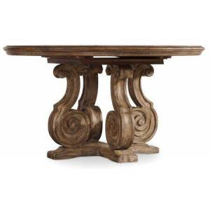 "Hooker Furniture Solana Collection 5291-75203 54"" Dining Table with 1-20"" Leaf  Pedestal Base and Molding Details in Light"