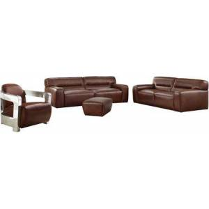 Sunset Trading Milan Collection SU-AX6816-SLA Leather 3 Piece Living Room Set  Sofa  Loveseat  Aviator Chair with Chrome Arms in Brown
