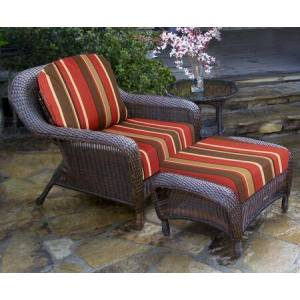 Tortuga Sea Pines Collection LEX-STCO1-J-MONS Chair  Ottoman and Side Table in Java Wicker and Monserrat Sangria Fabric