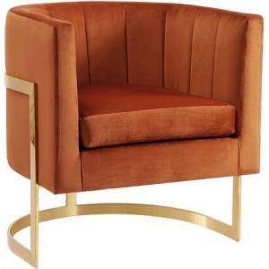 "Meridian Carter Collection 515COGNAC 29"" Velvet Accent Chair with Channel Tufting  Gold Stainless Steel Base and Contemporary Style in"