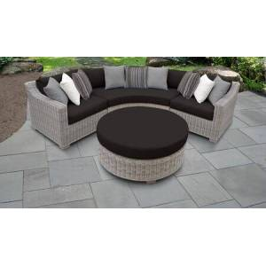 TK Classics Coast Collection COAST-04a-BLACK 4-Piece Wicker Patio Set with 2 Corner Chairs  Round Coffee Table and Curved Armless Chair - Beige and Black