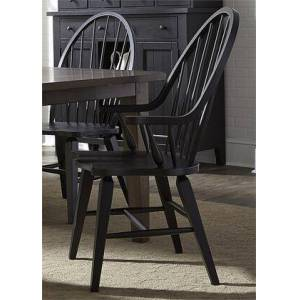 """Liberty Furniture Hearthstone Collection 482-C1000A 41"""" Arm Chair with Windsor Back  Tapered Legs and Stretcher in Black"""